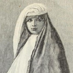 Muslim woman, with veil raised, in street costume